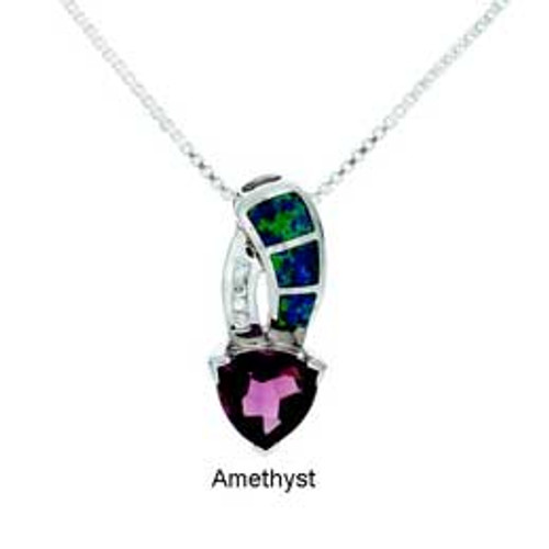 """Waterdrop"" Tachyon Pendant with Opal and CZ Accents Set in Silver"