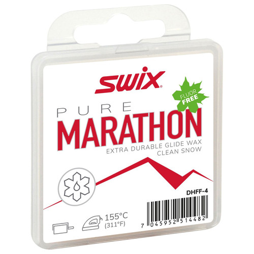 Swix Pure Marathon White Fluor-Free Ski Glide Wax - 40G