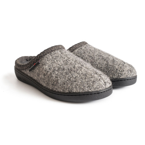 Haflinger AT Wool Hard Sole Slipper - Grey Speckle