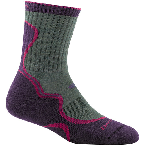 Darn Tough Merino Wool Micro Crew Light Cushion Hiking Socks - Women's - Moss/Eggplant