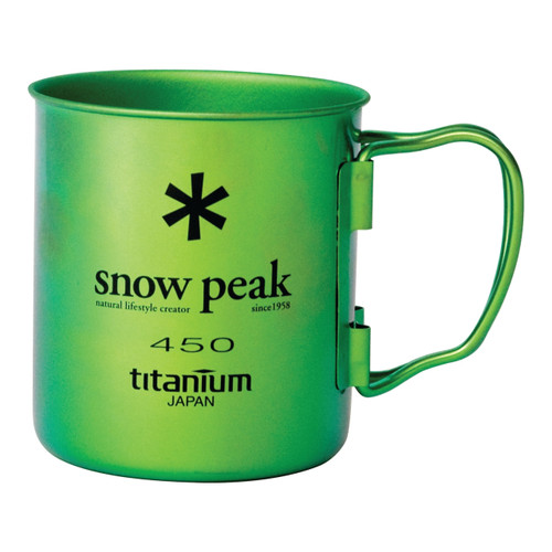 Snow Peak Titanium Single Wall Cup 450 in Green