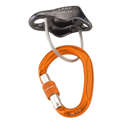CAMP Cassin Piu 2.0 Belay/Rappel Device with Locking Carabiner Kit - One Size - Gunmetal
