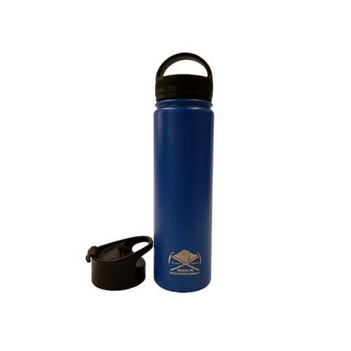 OMC Stainless Steel Vacuum Insulated Wide Mouth Bottle - 22oz - Blue w/ Flip Lid