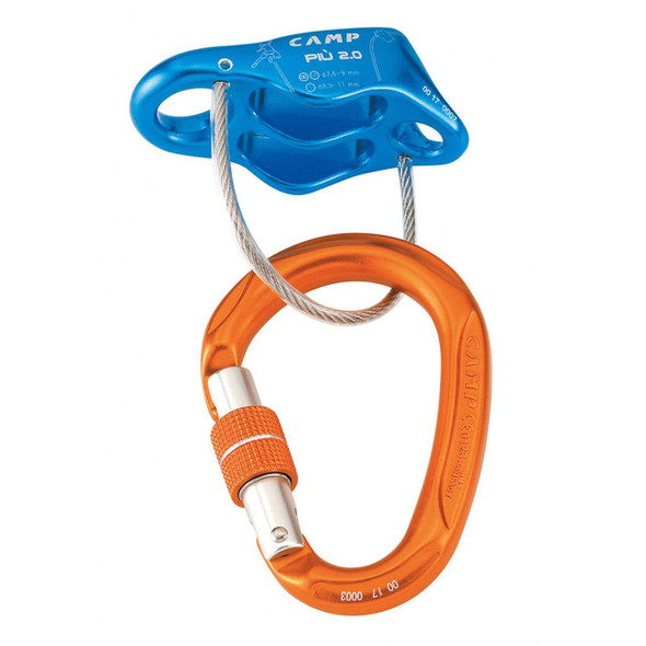 CAMP Cassin Piu 2.0 Belay/Rappel Device with Locking Carabiner Kit - One Size - Blue