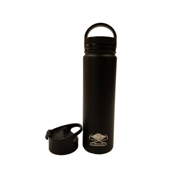 OMC Stainless Steel Vacuum Insulated Wide Mouth Bottle - 22oz - Black w/ Flip Lid