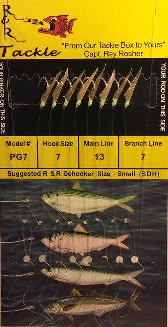 R&R Pg-7 Sabiki Rig 8 Hk Pilchard/ Threadfin/ Green Head Size 7 Hook