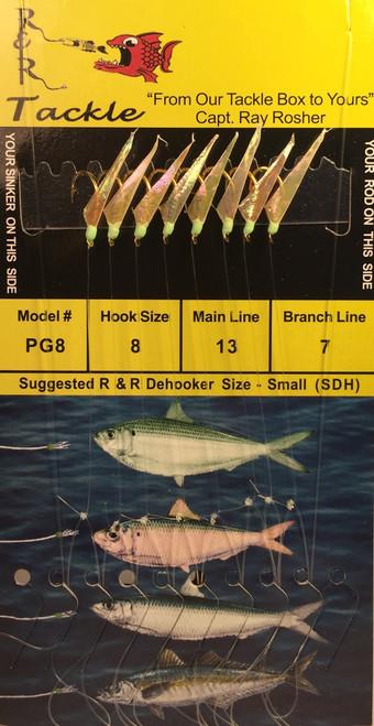 R&R Pg-8 Sabiki Rig 8 Hk Threadfin/ Green Head Size 8 Hook