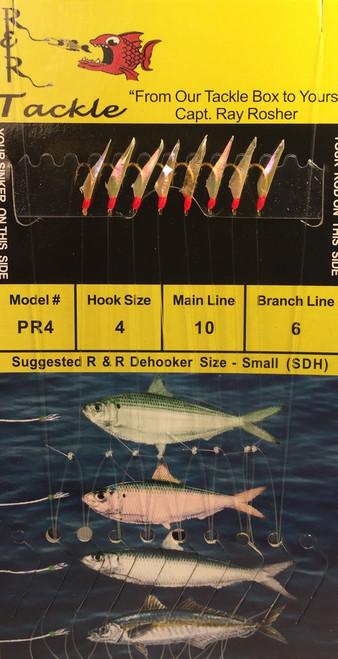 R&R Pr-4 Sabiki Rig 8 Hk Pilchard/ Red Head Size 4 Hooks