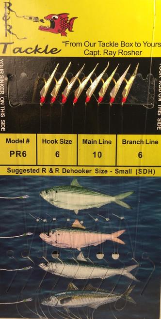 R&R Pr-6 Sabiki Rig 8 Hk Pilchard/ Red Head Size 6 Hooks