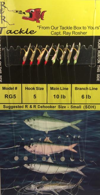 R&R Rg-5 Sabiki Rig 8 Hk  4 Green Heads & 4 Red Heads Size 5 Hook