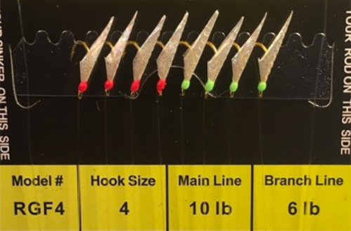 R&R Rgf-4 Sabiki Rig 8 Gld Hk Fish Skin FluorocaRBon/ 4 Red Heads/  4 Green Heads Size 4 Hooks