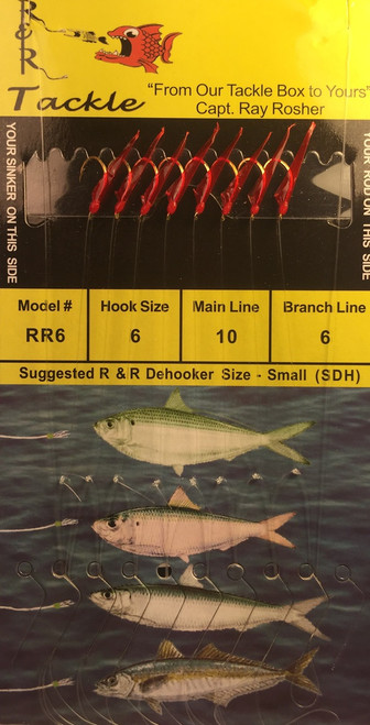 R&R Rr-6 Sabiki Rig 8 Hk Pilchard/ Red Skin/ Red Head Size 6 Hooks