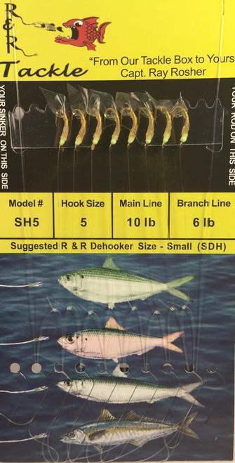 R&R Sh-5 Sabiki Shrimp Rig 8 Hk /Green Head Size 5 Hook