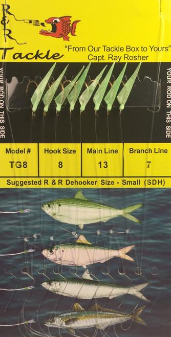 R&R Tg-8 Sabiki Rig 8 Hk Threadfin/  Glow Skin/ Glow Head Size 8 Hooks
