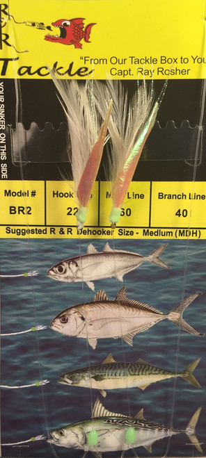 R&R Br-2 Sabiki Rig Blue Runner 2 Hk White Feather/ Fish Skin Size 22 Hook