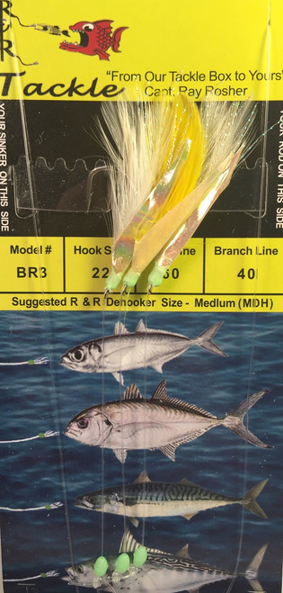 R&R Br-3 Sabiki Rig Blue Runner 3 Hk White/ Yellow Feather/ Fish Skin Size 22 Hook