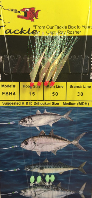 R&R Fsh-4 Sabiki Rig Blue Runner 4 Hk Rainbow Flash/ Fish Skin Size 15 Hook  Ska  Favorite