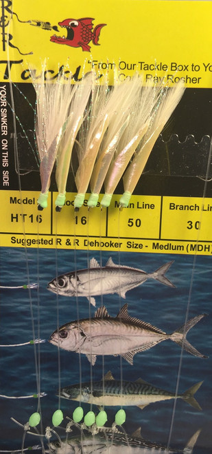 R&R Ht-16 Sabiki Rig Blue Runner 6 Hk Green Head White Feather Size 16 Hook  Ska Favorite