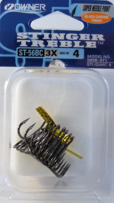 St-56 Treble Hook #4 3X Strong Black Pocket Pack 8/Pack