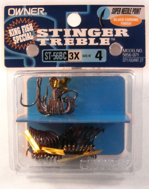 St-56 Treble Hook #4 3X Strong Black Pro Pack 27/Pack