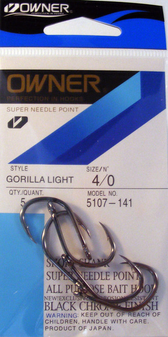 Gorilla Light Hooks Pocket Pak 5/ Pack Size 4/0