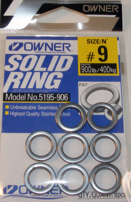 Solid Rings Heavy Duty Stainless Steel Size 9 8/ Pack