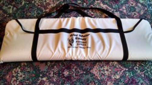 """This bag is perfect for King, Cobia, & Dolphin. The cooler bag includes UV protected reinforced heave gauge PVC nylon, 3 inches of insulating foam, & reinforced hand straps for easy carrying. Also folds flat for easy cleaning & storage. Made in the USA of course! Measures 65""""x20"""" and zips on three sides."""