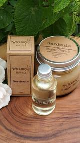 gardenia sugar scrub, gardenia body oil