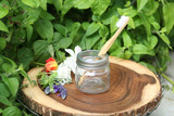 Bamboo Toothbrush pictured with Toothbrush Holder Accessory ~ Great way to REPURPOSE our Whimsy Sugar Scrub Jar!