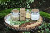 green tea collection, green tea soy candle, soy candle, candle, green tea scrub, sugar scrub, green tea oil, body oil, hair oil, clean beauty