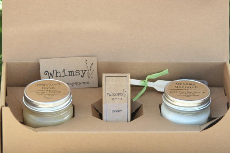 CUSTOM TRIO BOX SET, whimsy sugar scrub, whimsy oil, whimsy candle