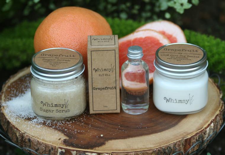 grapefruit, grapefruit collection, grapefruit sugar scrub, grapefruit body oil, grapefruit candle, sweet, sparkly, citrus