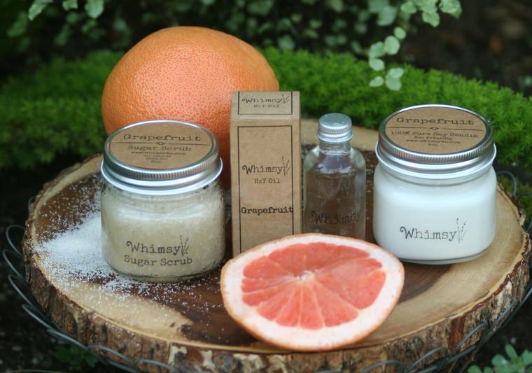 grapefruit, grapefruit body oil, grapefruit sugar scrub, grapefruit candle, grapefruit collection