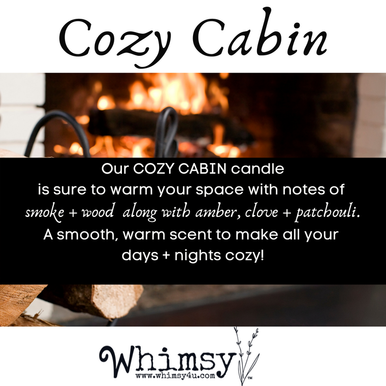 cozy cabin soy candle, fall scent, holiday scent, earthy, smokey, wood, amber, musk