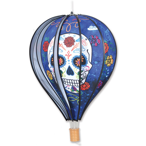 22 Inch Blue Day of the Dead Hot Air Balloon Wind Spinner