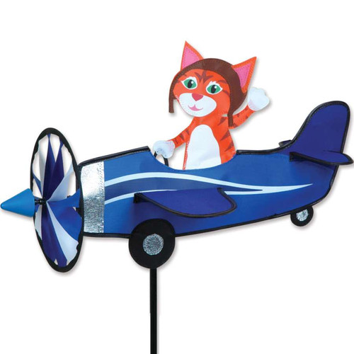 19 Inch Kitty Cat Pilot Pal Airplane Wind Spinner