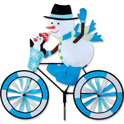30 Inch Snowman Riding Bike Wind Spinner