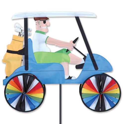 23 Inch Man Driving Golf Cart Wind Spinner