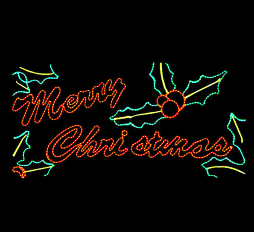 8x4 Foot Merry Christmas Lighted Motif Sign