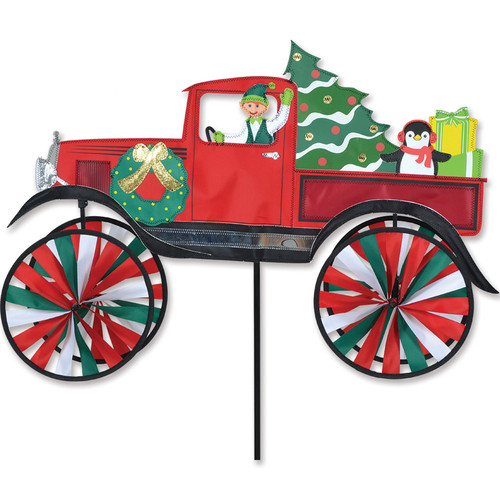 28 Inch Christmas Elf Driving a Truck Wind Spinner