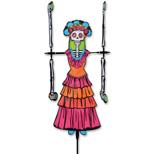 20 Inch Day of the Dead Woman WhirliGig Wind Spinner