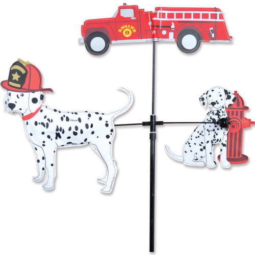 59 Inch Single Carousel Wind Spinner Fire Truck Dalmatians