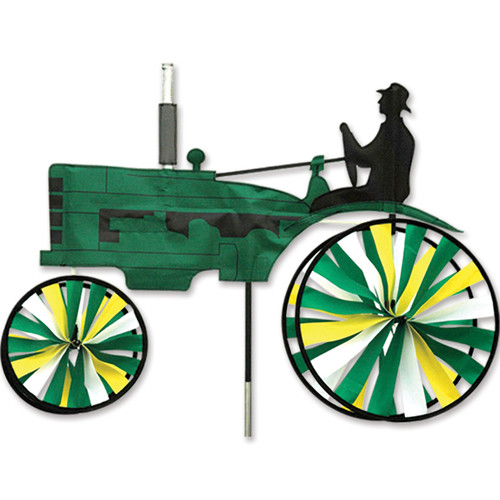 29 Inch Green and Yellow Old Tractor Wind Spinner