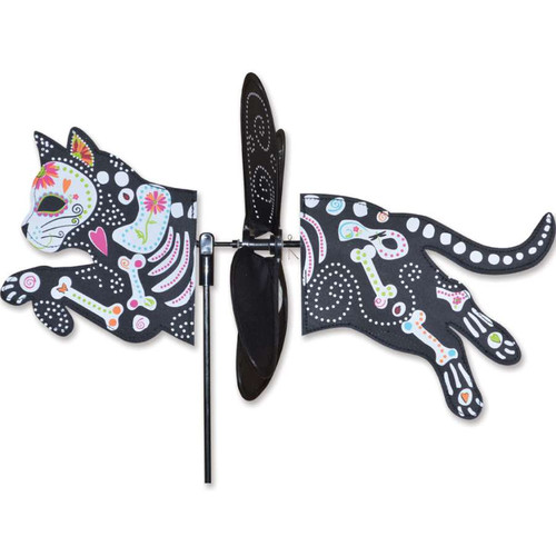 18 Inch Day of the Dead Cat Petite Wind Spinner