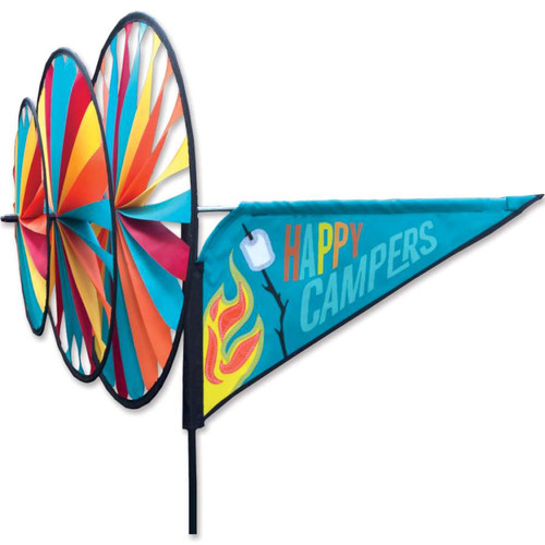 33 Inch Happy Campers Triple Wind Spinner