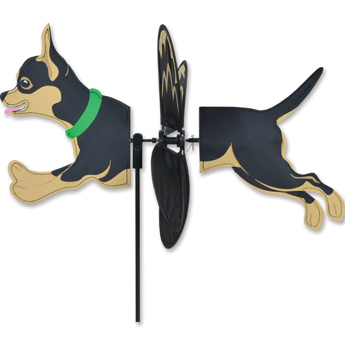 17 Inch Petite Black and Tan Chihuahua Dog Wind Spinner