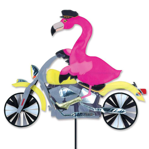 30 Inch Flamingo Riding Motorcycle Wind Spinner