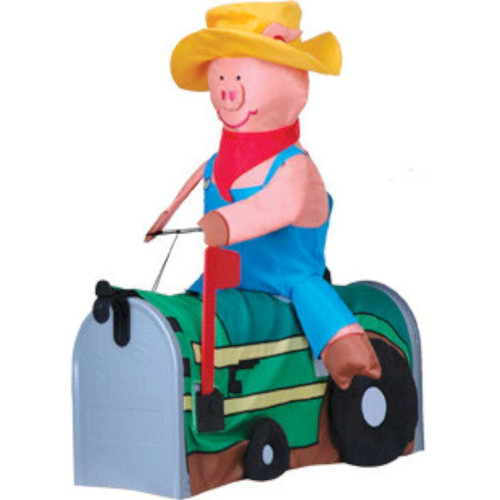 Pig on a Tractor Mailbox Cover