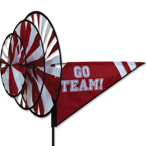 33 Inch Maroon and White Go Team Triple Wind Spinner