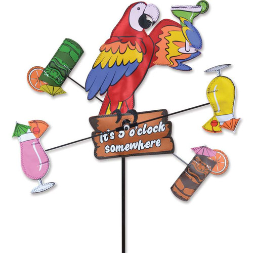 12 Inch Parrot 5 O'Clock Somewhere WhirliGig Wind Spinner
